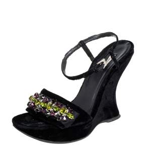 Prada Black Velvet Crystal Embellished Open Toe Ankle Strap Sandals Size 39