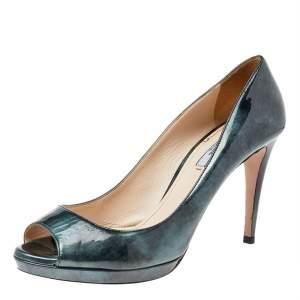 Prada Two Tone Patent Leather Peep Toe Pumps Size 40.5
