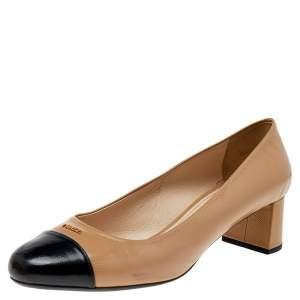 Prada Beige/Black Saffiano Patent Leather Toe Cap Block Heel Pumps Size 40.5