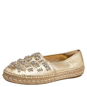 Prada Gold Leather Crystal Embellished Espadrille Flats Size 39