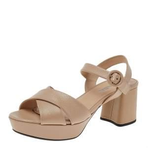 Prada Beige Leather Criss Cross Platform Ankle Strap Sandals Size 37.5