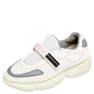 Prada White/Grey Mesh And Leather Cloudbust Sneakers Size 37
