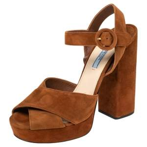 Prada Brown Suede  Crisscross Ankle Strap Sandals Size 39.5