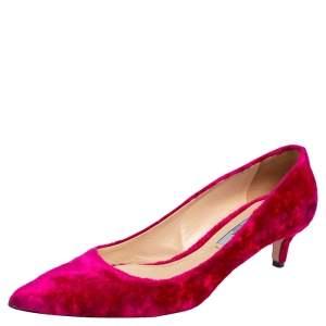 Prada Pink Velvet Pointed Toe Kitten Heel Pumps Size 39