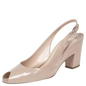 Prada Light Beige Patent Leather Peep Toe Slingback Sandals Size 40