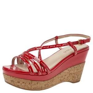Prada Red Patent Leather Platform Sandals Size 37.5