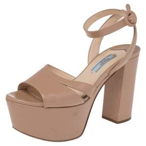 Prada Beige Patent Leather Platform Ankle Strap Sandals Size 35.5