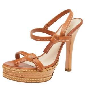 Prada Tan Leather Platform Ankle Strap Sandals Size 39.5
