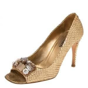 Prada Gold Python Crystal Embellished Peep Toe Pumps Size 37