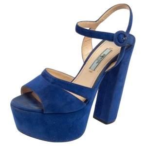 Prada Blue Suede Platform Ankle Strap Sandals Size 36.5