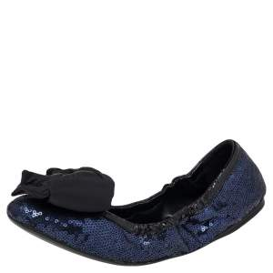 Prada Navy Blue  Sequin And Patent Leather Trim Fabric Bow Logo Scrunch Ballet Flats Size 40