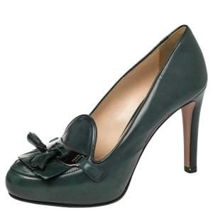 Prada Dark Green  Leather Loafer  Pumps Size 37