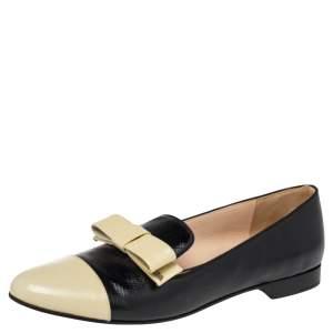 Prada Black/White Leather Bow Cap Toe  Loafers Size 38