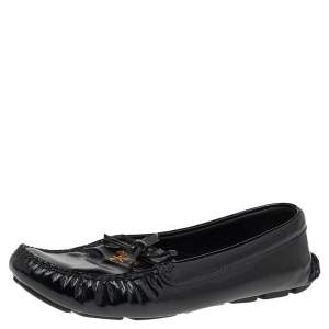 Prada Black Patent Leather Bow Loafers Size 38