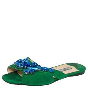 Prada Green Suede Crystal Embellished Flat Sandals Size 37.5