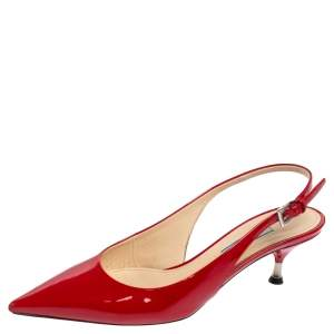 Prada Red Patent Leather Pointed Toe Slingback Sandals Size 36.5