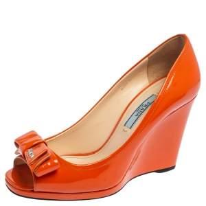 Prada Orange Patent Leather Bow Peep Toe Wedge Pumps Size 35.5