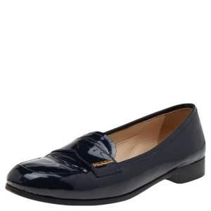 Prada Navy Blue Patent Leather Penny Slip On Loafers Size 37.5