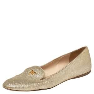 Prada Gold Glitter Smoking Slippers Size 37
