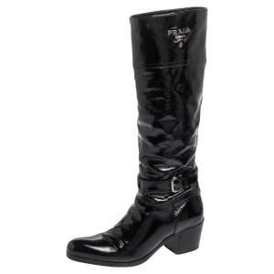 Prada Black Patent Leather Knee Length Boots Size 37