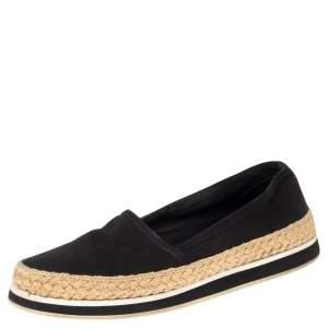 Prada Black Canvas Espadrille Sneakers Size 35.5