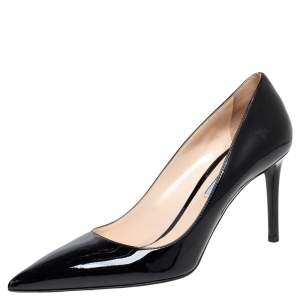 Prada Black Patent Leather Pointed Toe Pumps Size 39.5