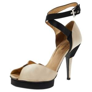 Prada Beige/Black Satin Slingback Sandals Size 38