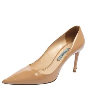 Prada Beige Patent Saffiano Leather Pointed Toe Pumps Size 36.5