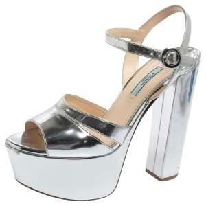 Prada Metallic Silver Leather Platform Ankle Strap Sandals Size 38.5