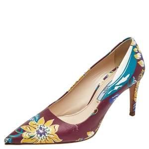 Prada Burgundy Flower Print Leather Pointed Toe Pumps Size 36