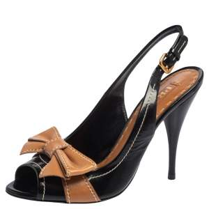 Prada Black/Brown Patent Leather And Leather Bow Slingback Sandals Size 36.5