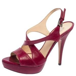 Prada Fuchsia Leather Crisscross Slingback Platform Sandals Size 38