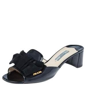Prada Black Patent Saffiano Leather Bow Block Heel Slide Sandals Size 37