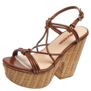 Prada Brown Leather and Woven Raffia Strappy Block Heel Platform Sandals Size 39