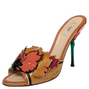 Prada Tricolor Patent Leather Flower Embellished Sandals Size 38