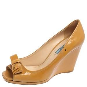 Prada Beige Patent Leather Bow Peep Toe Wedge Pumps Size 40
