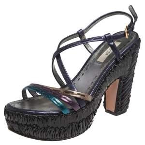Prada Metallic Multicolor Leather Strappy Platform Sandals Size 36.5
