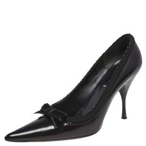 Prada Black Leather Bow Pointed Toe Pumps Size 39