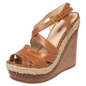 Prada Tan Leather Strappy Espadrille Wedge Platform Sandals Size 37.5