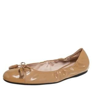 Prada Beige Patent Leather Tassel Bow Flats Size 42