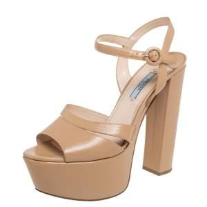 Prada Beige Patent Leather Platform Ankle Strap Sandals Size 39