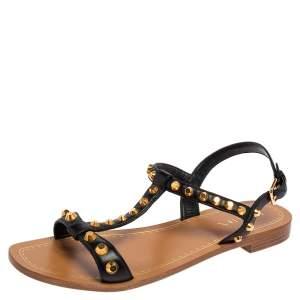 Prada Black Leather Studded T Strap Flat Sandals Size 39.5