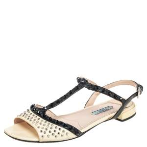 Prada Yellow Saffiano Patent Leather Studded and Crystal Embellished T Strap Sandals Size 38.5