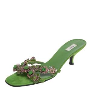 Prada Apple Green Suede And Patent Leather Floral Applique Slide Sandals 37.5
