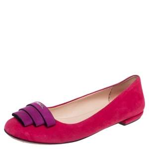 Prada Pink/Purple Suede Logo Ballet Flats Size 36.5