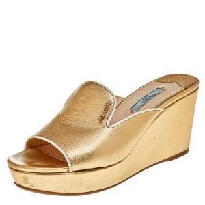 Prada Gold Saffiano Lux Leather Wedge Platform Slide Sandals Size 36