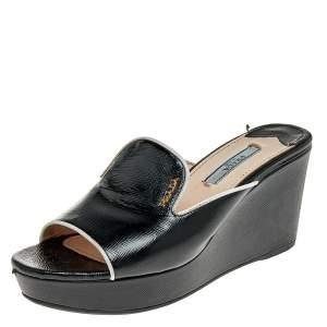 Prada Black Saffiano Patent Leather Platform Wedge Slide Sandals Size 36