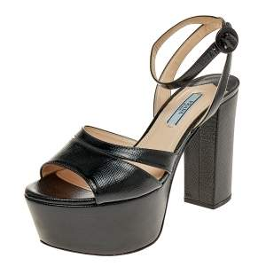 Prada Black Saffiano Patent Leather Platform Ankle Strap Sandals Size 37