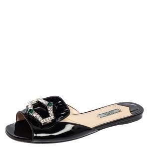 Prada Black Patent Leather Crystal Embellished Flats Size 39