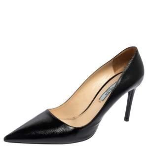 Prada Black Safffiano Patent Leather Classic Pointed Toe Pumps Size 38.5